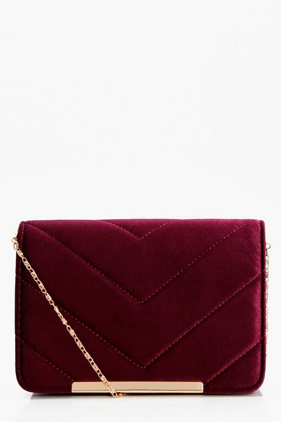 Maya Velvet Quilt And Bar Cross Body
