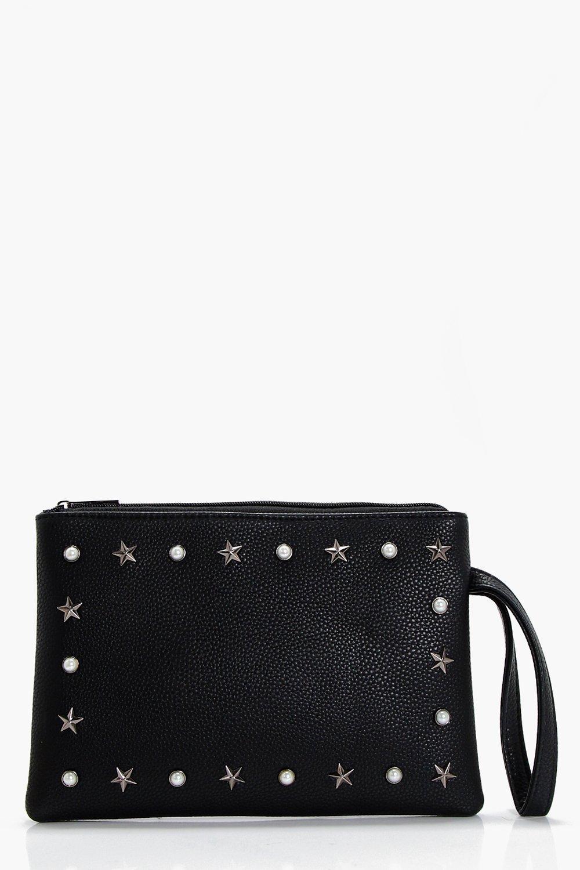 Pearl And Star Ziptop Clutch - black - Millie Pear