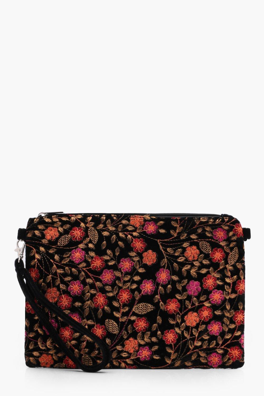 Ornate Embroidery Velvet Clutch - black - Amy Orna