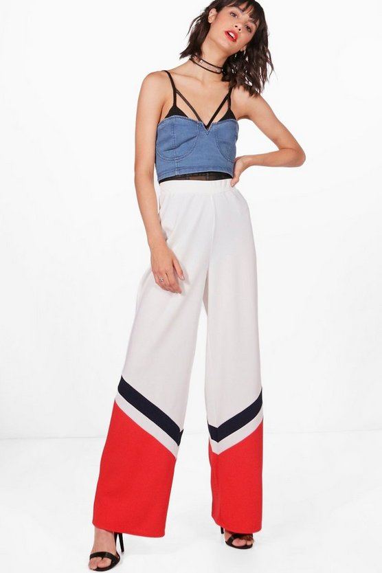 Zoe Chevron Contrast Panel Wide Leg Trousers