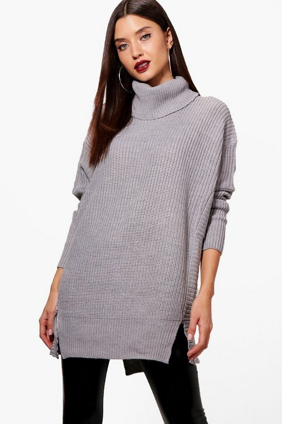 Zoey Oversized Roll Neck Jumper With Zip Detail