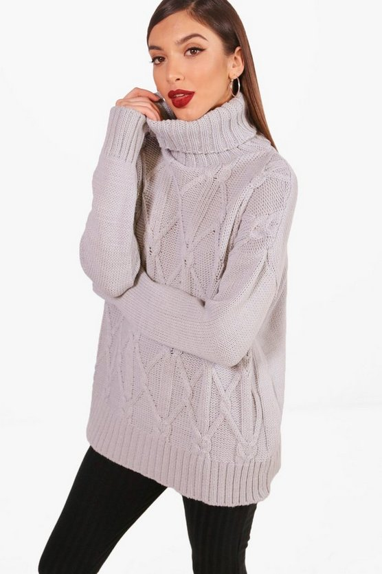 Freya Brushed Cable Knit Oversized Roll Neck