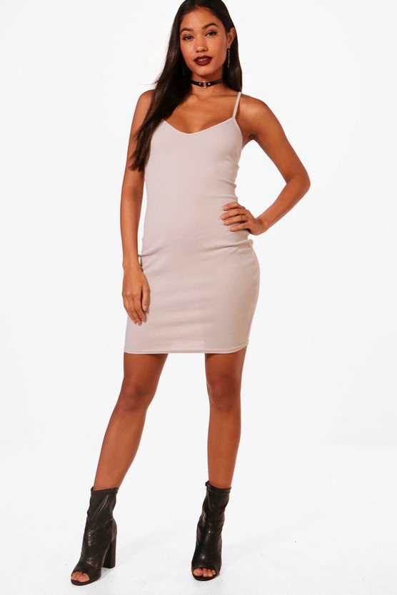 Jessica Rib Knit Strappy Cami Dress