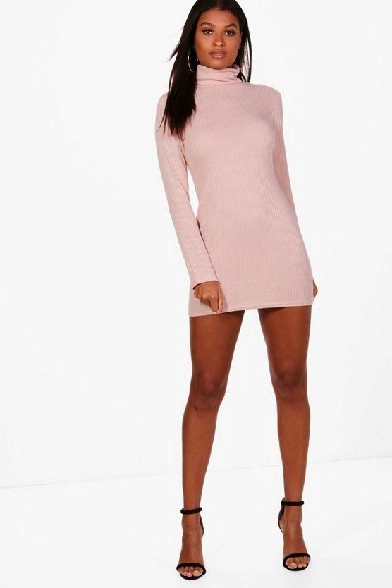 Maxinne Rib Knit Roll Neck Dress