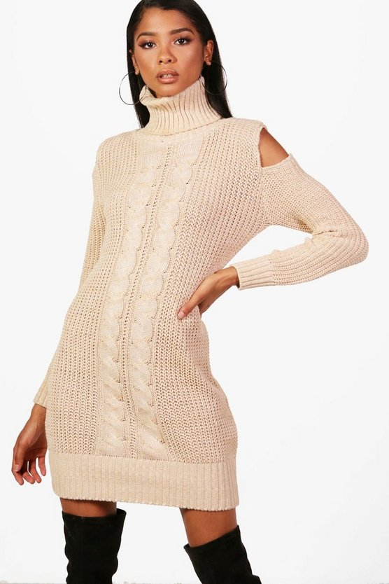 Maddison Roll Neck Cold Shoulder Jumper Dress