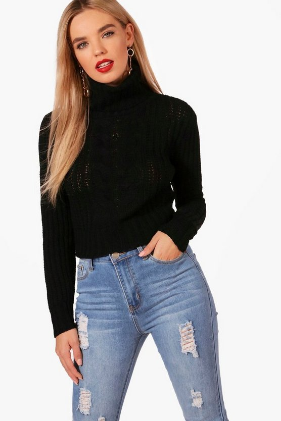 Maria Roll Neck Cable Detail Cropped Jumper