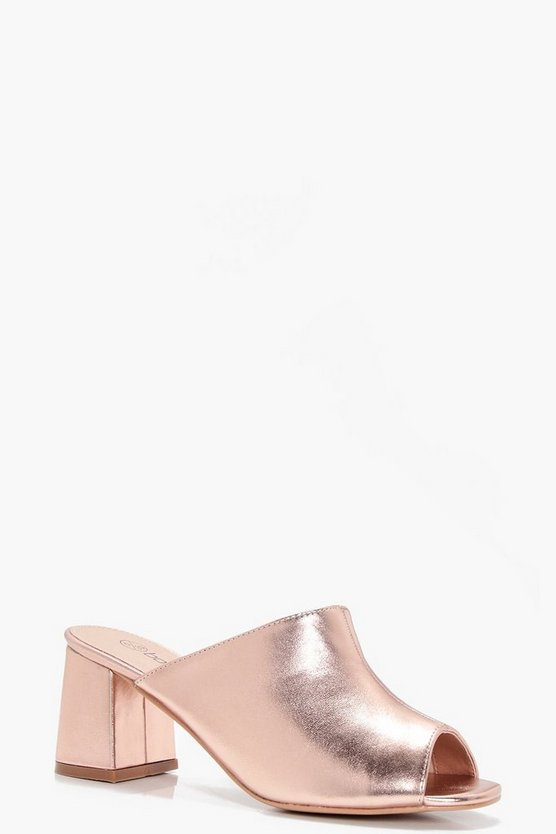 Neve Wide Fit Metallic Peeptoe Mules