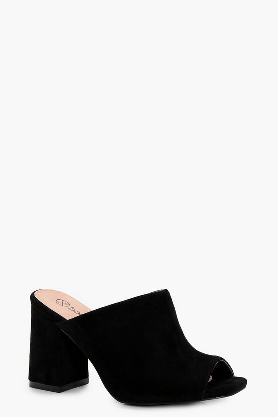 Lottie Wide Fit Peeptoe Mules