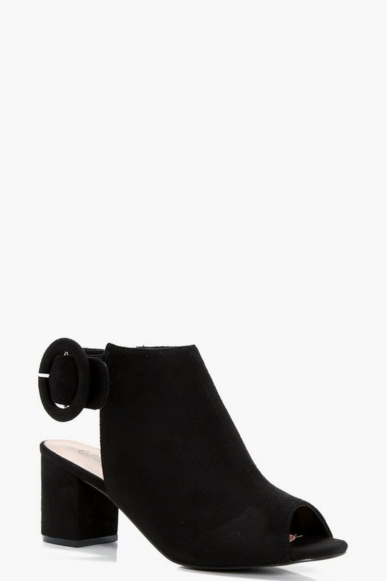Wide Fit Peeptoe Block Heel Shoe Boots