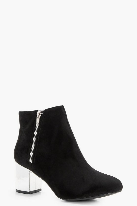 Metallic Heel Zip Ankle Boots