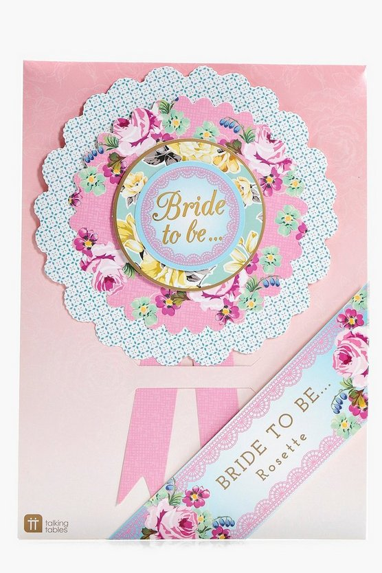Bride To Be Floral Rosette Badge