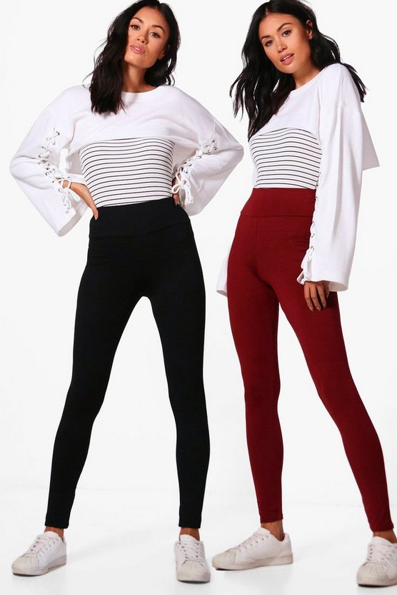 2 Pack Basic High Waist Leggings