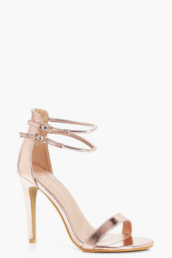 Amy Metallic Double Ankle Band 2 Part Heels
