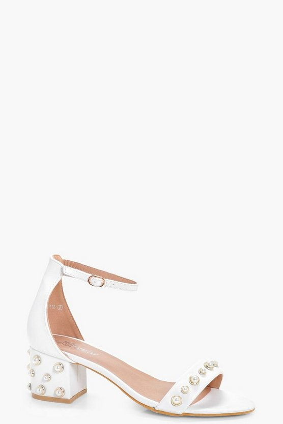 Sarah Pearl Detail Low Block Heels