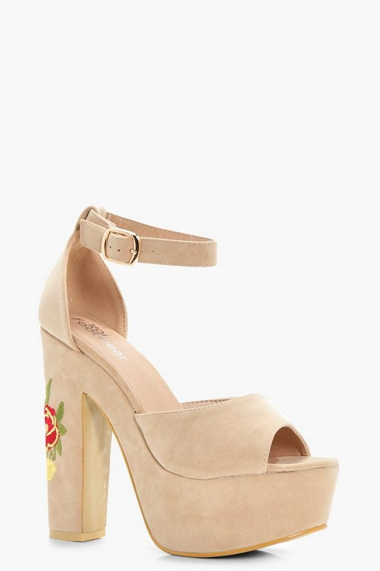 Isobel Embroidered Platform Heels
