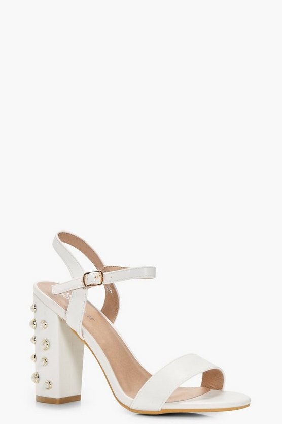 Julia Embellished Pearl Block Heel