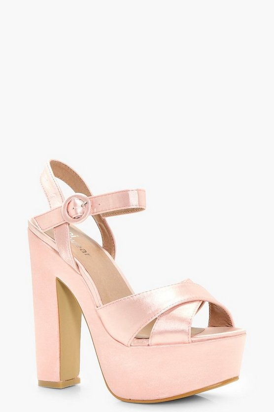 Rose Platform Cross Strap Heels