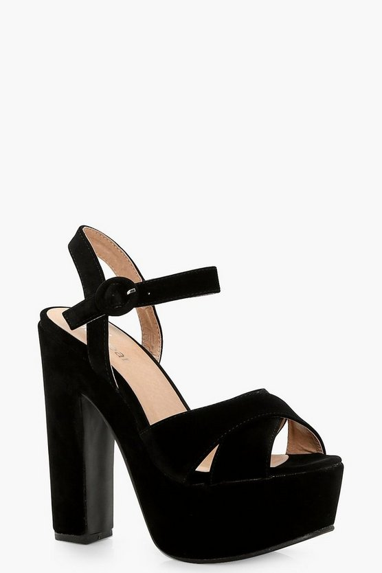 Willow Platform Cross Strap Heels
