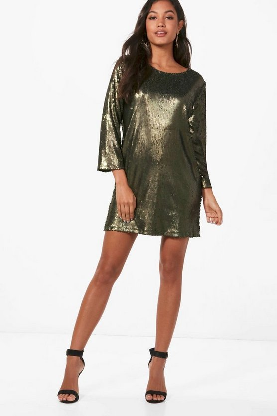 Boutique Sequin Open Back Shift Dress