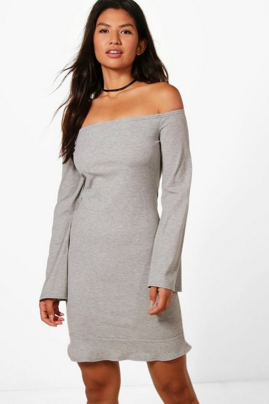 Catherine Ribbed Flute Sleeve Off Shoulder Dress
