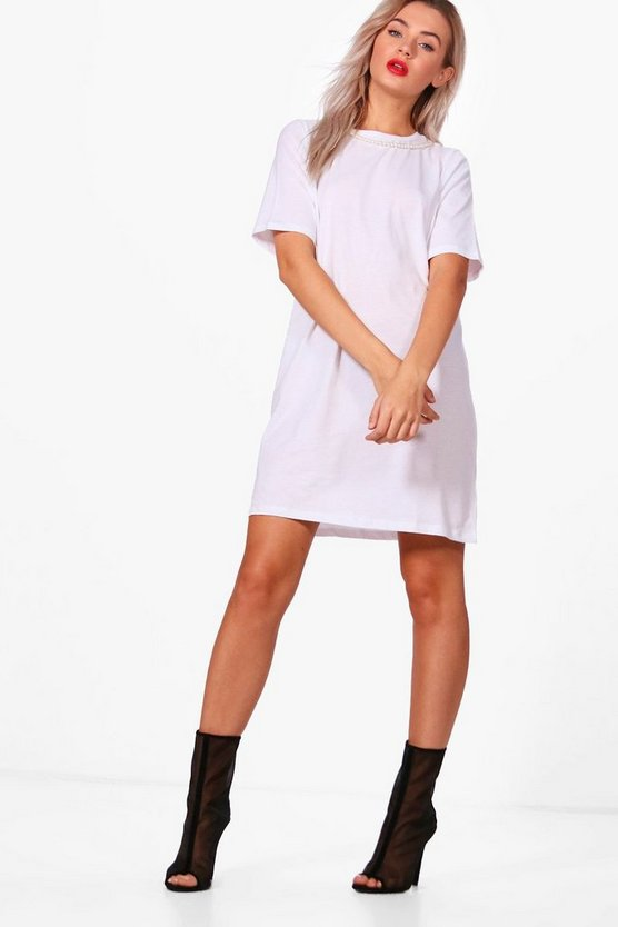 Lois Pearl Choker Oversized T-Shirt Dress