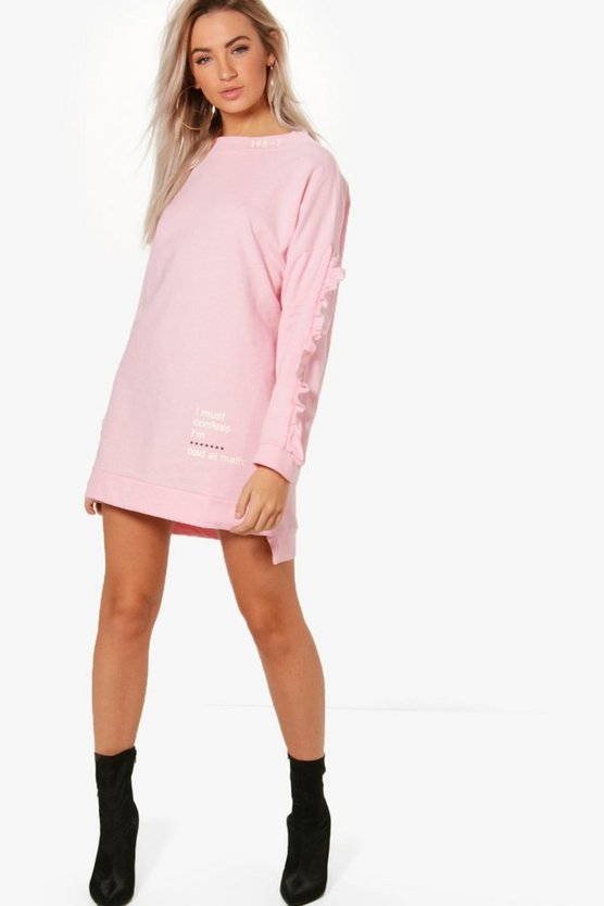 Kayla Ruffle Sleeve Sweat Dress