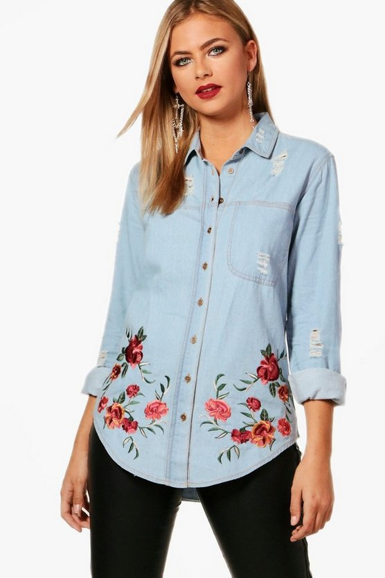 Ellie Oversized Distressed Embroidered Denim Shirt
