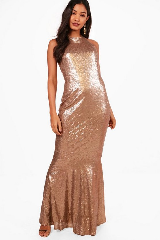 Boutique Celia Sequin Open Back Maxi Dress
