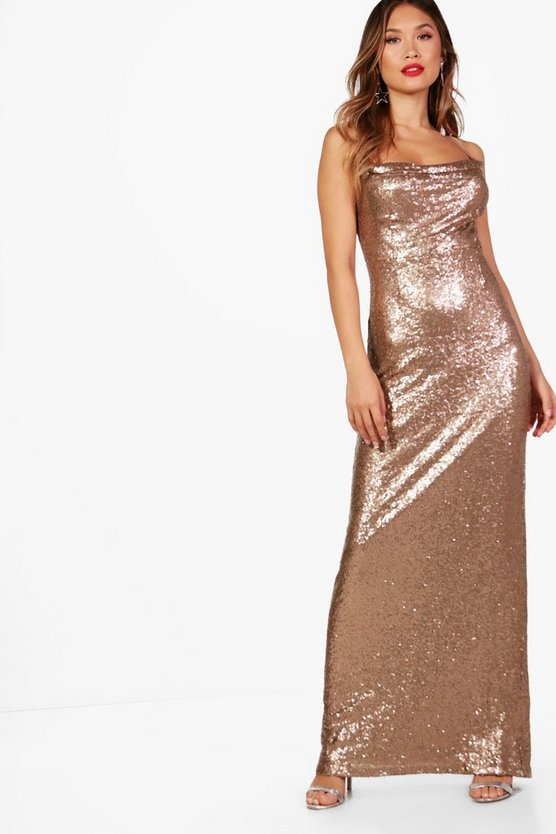 Boutique Sequin Strappy Maxi Dress