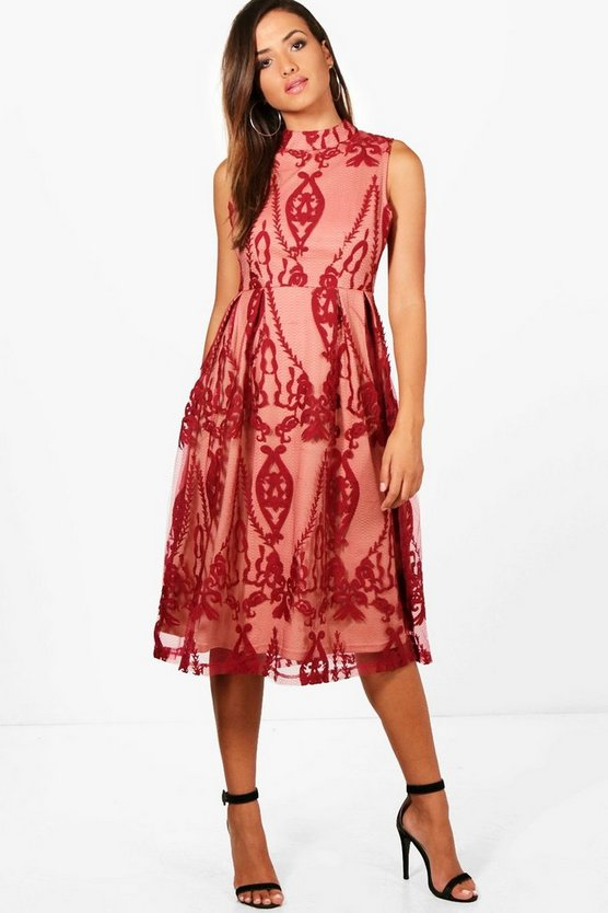 Boutique Embroidered Midi Skater Dress