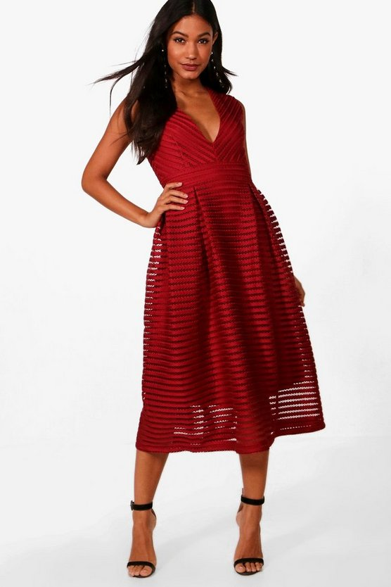 Panelled Plunge Neck Midi Skater Dress