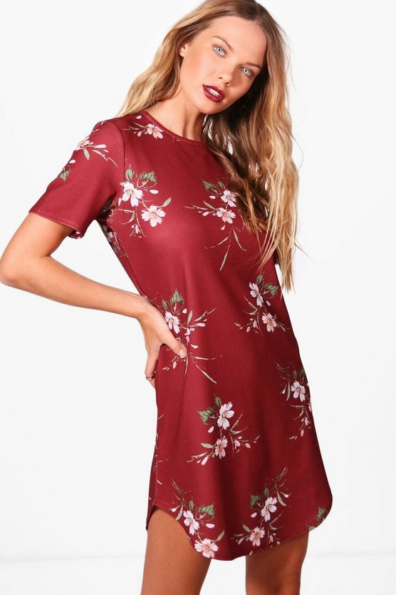 Mona Floral Cap Sleeve Shift Dress