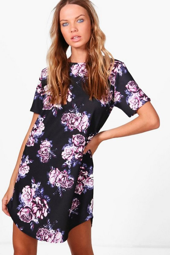 Georgina Cap Sleeve Floral Shift Dress