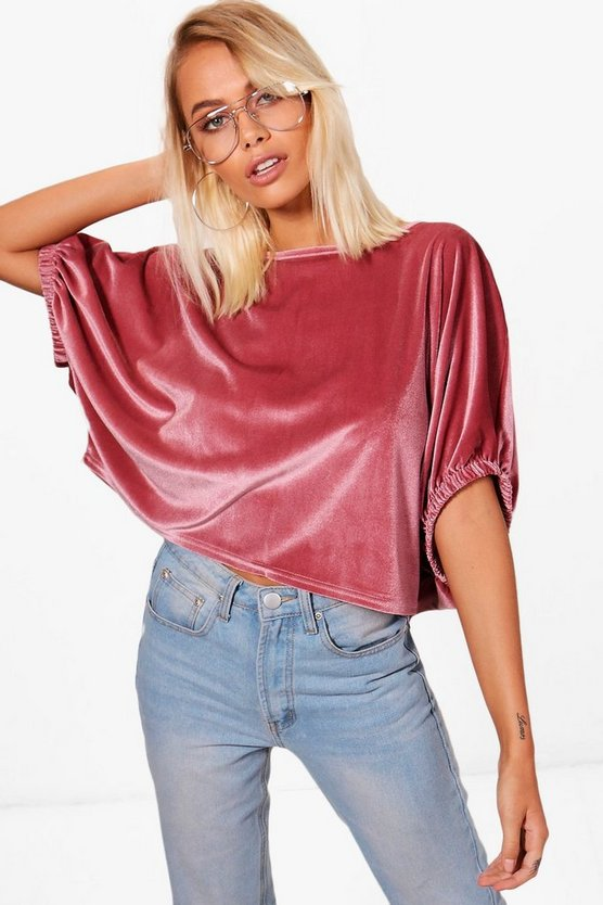 Jasmin Velvet Oversized Crop Top