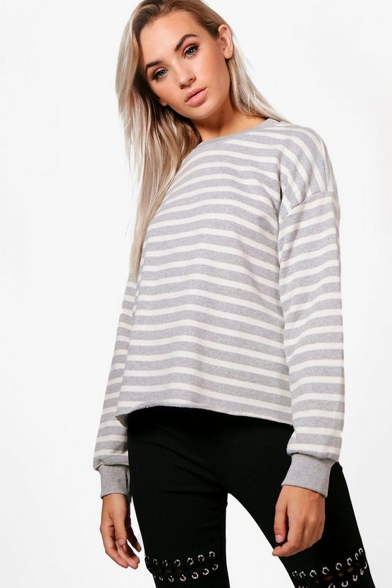 Emma Stripe Oversized Raw Hem Sweat