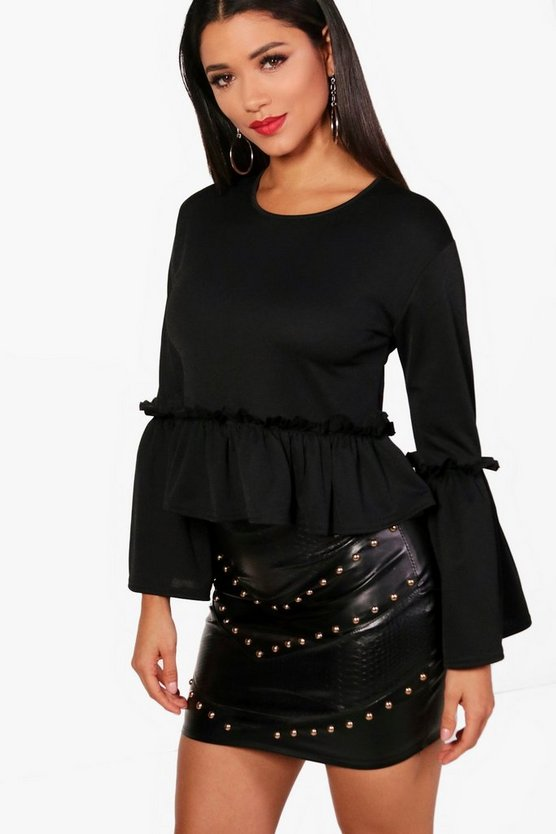 Emery Ruffle Crepe Top
