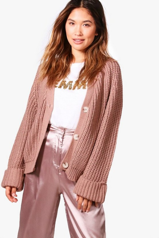 Jasmine Crop Oversized Chunky Knit Cardigan