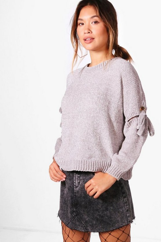 Rebecca Lace Up Detail Chenille Jumper