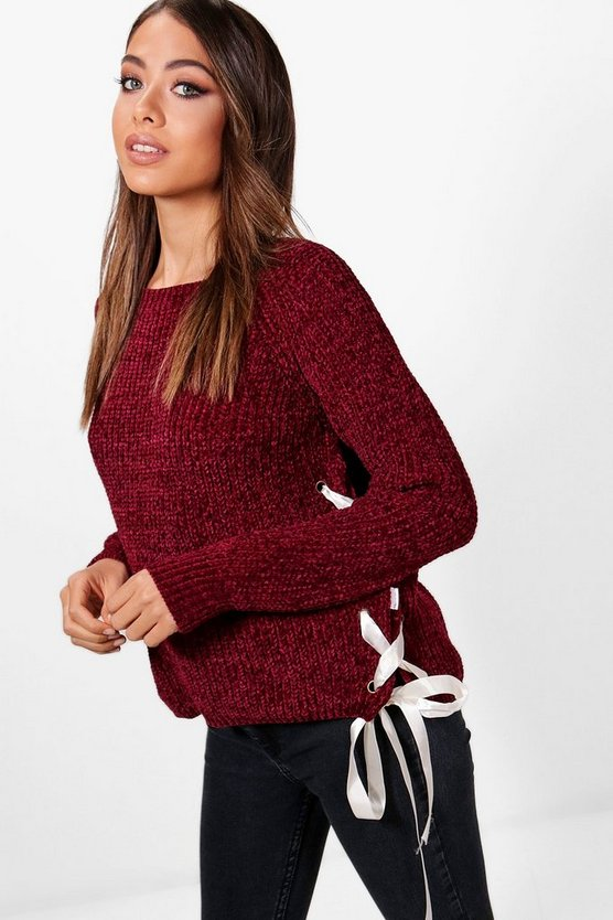 Stephanie Lace Up Detail Chenille Jumper