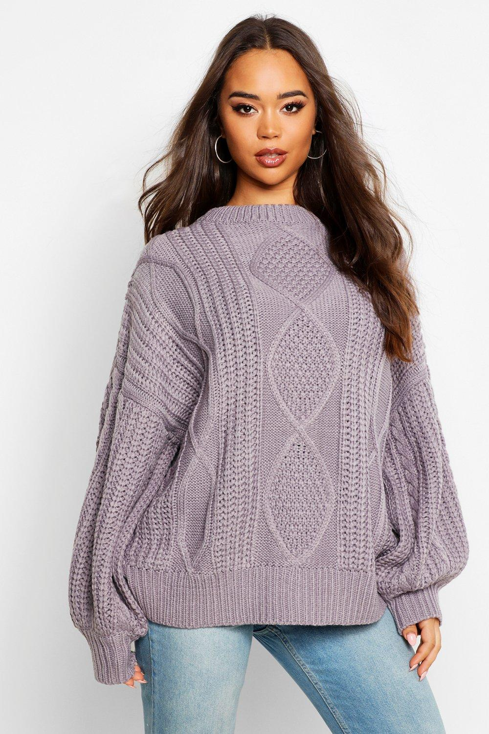 Womens Oversized Pullover mit Zopfmuster - anthrazit - S/M, Anthrazit - Boohoo.com