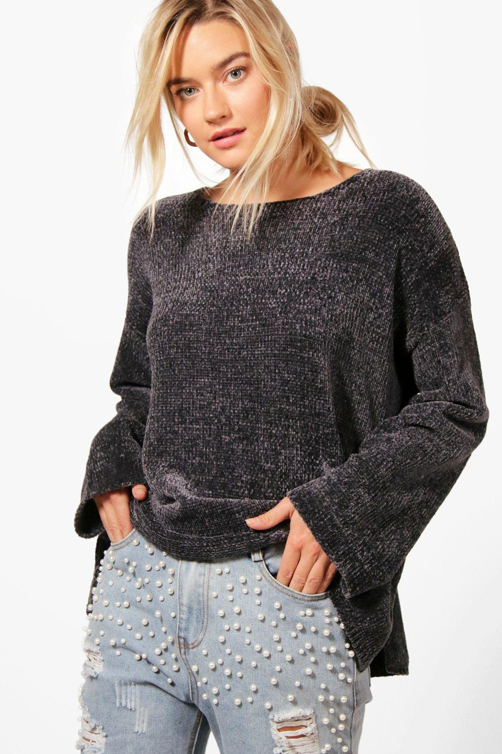 Womens Übergroßes Chenille-Pullover - anthrazit - S/M, Anthrazit - Boohoo.com