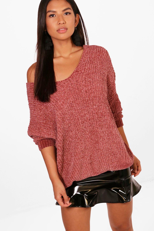 Womens Pullover mit lässiges V-Ausschnitt in Chenille-Optik - rosé - S/M, Rosé - Boohoo.com