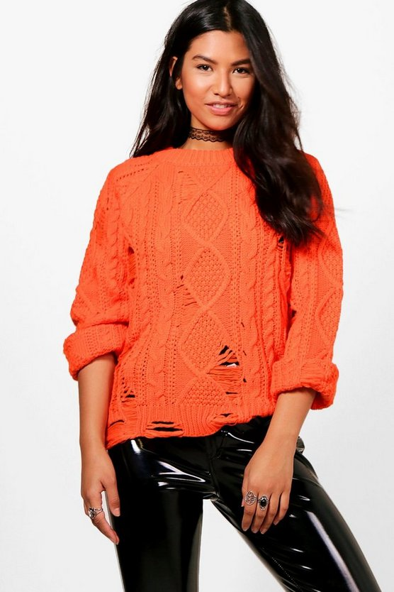 Aimee Cable Knit Distressed Jumper