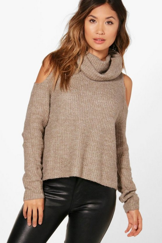 Millie Supersoft Roll Neck Cold Shoulder Jumper
