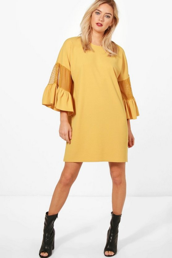 Mesh Detail Frill Sleeve Shift Dress