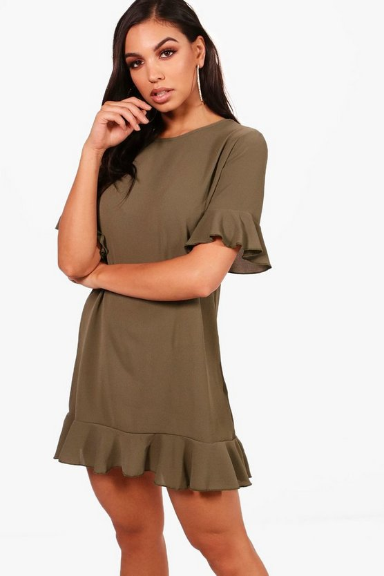Maya Ruffle Hem Shift Dress