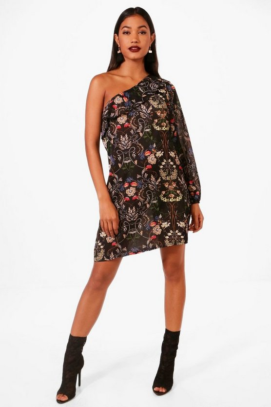 Jenna Ruffle One Shoulder Floral Shift Dress