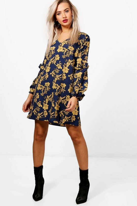 Millie Ruffle Sleeve Floral Shift Dress