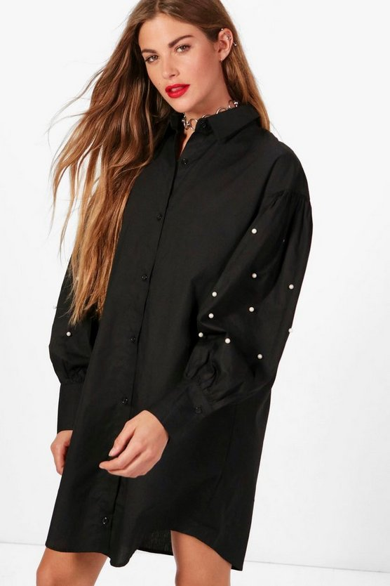 Anna Pearl Sleeve Shirt Dress