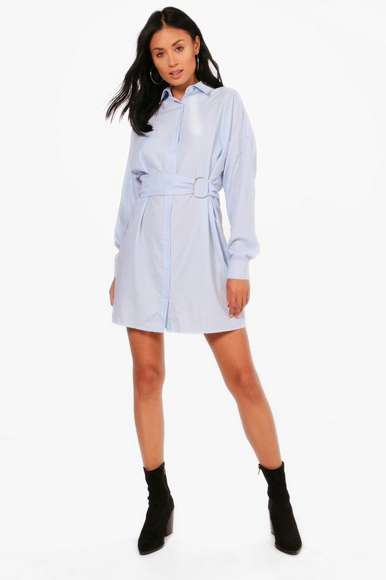 Rosie Metal Ring Waist Detail Shirt Dress